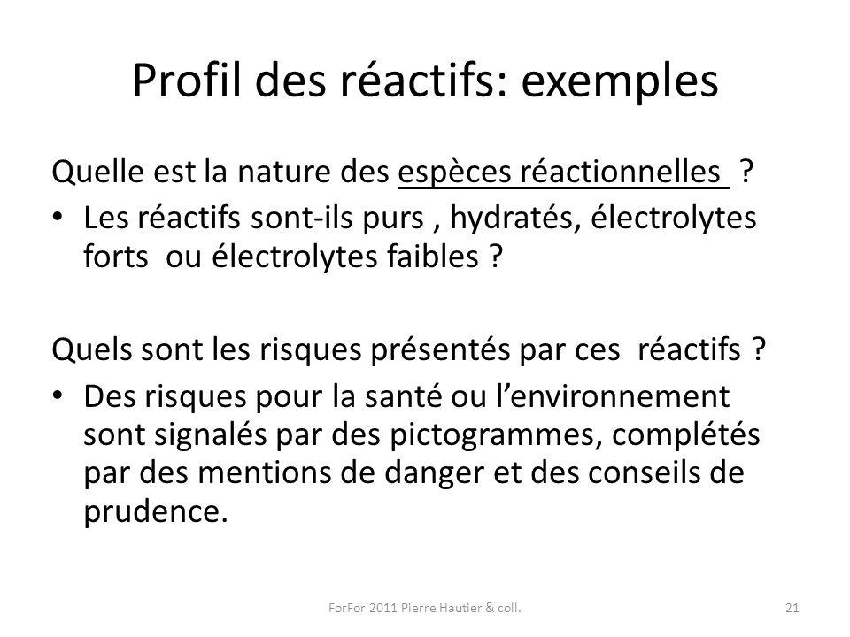 Profil des réactifs: exemples Quelle est la nature des espèces réactionnelles ? Les réactifs sont-ils purs, hydratés, électrolytes forts ou électrolyt