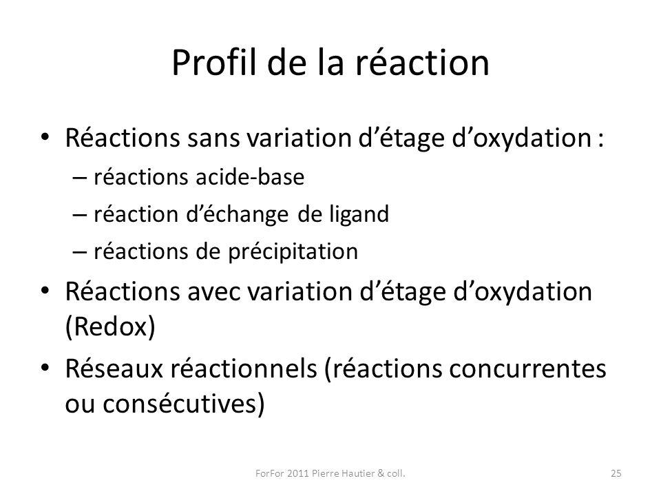 Profil de la réaction Réactions sans variation détage doxydation : – réactions acide-base – réaction déchange de ligand – réactions de précipitation R