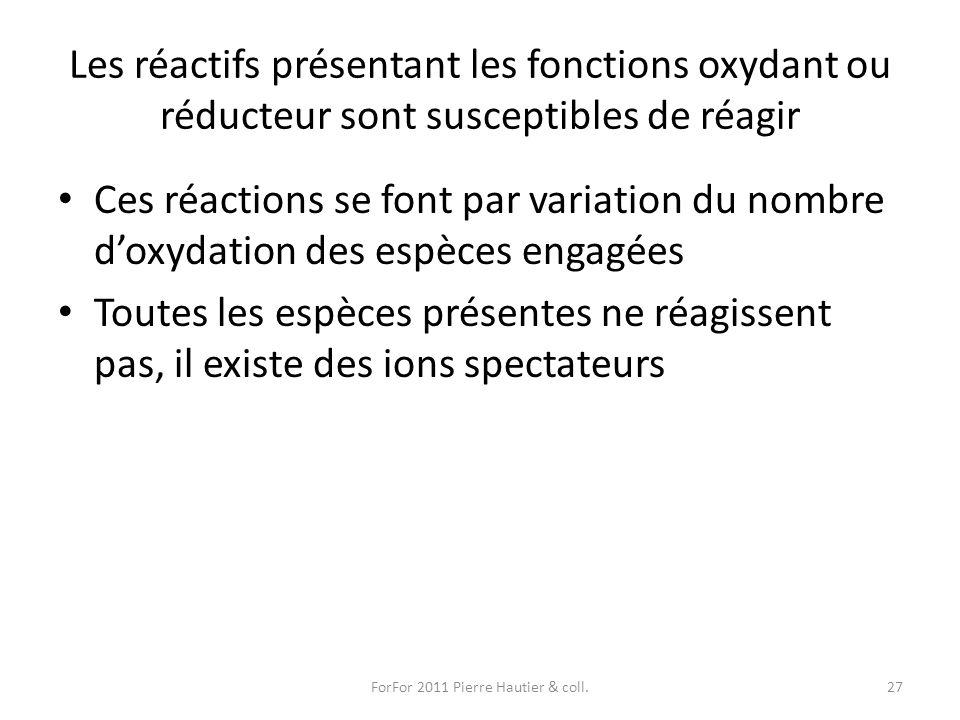 Les réactifs présentant les fonctions oxydant ou réducteur sont susceptibles de réagir Ces réactions se font par variation du nombre doxydation des es