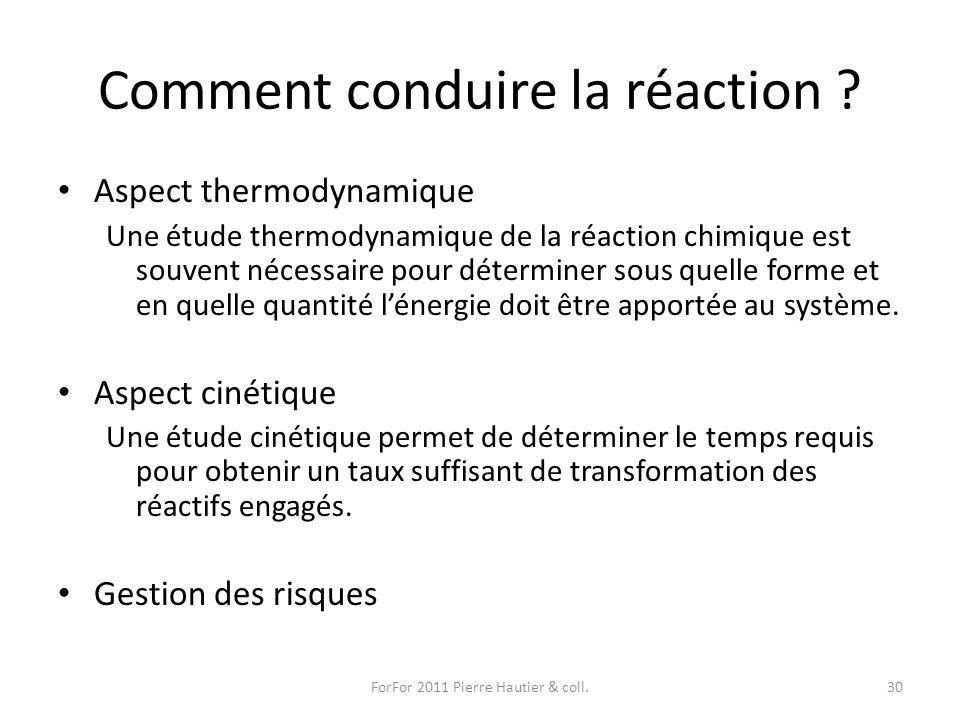 Comment conduire la réaction ? Aspect thermodynamique Une étude thermodynamique de la réaction chimique est souvent nécessaire pour déterminer sous qu