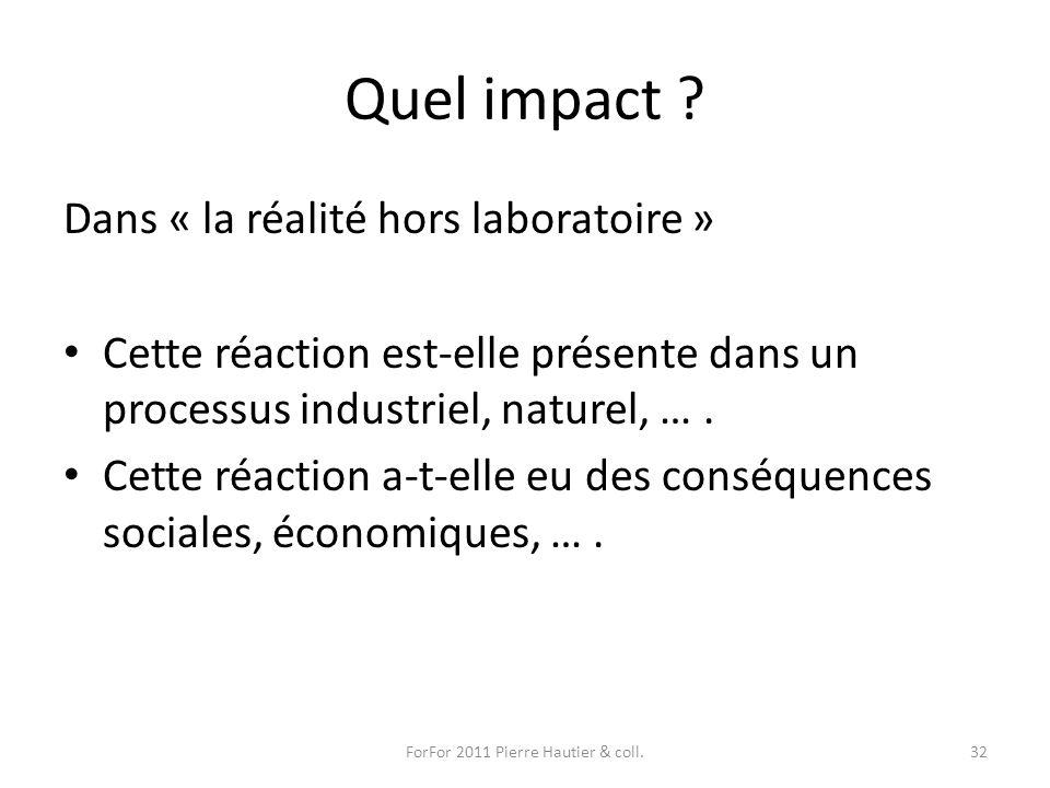 Quel impact ? Dans « la réalité hors laboratoire » Cette réaction est-elle présente dans un processus industriel, naturel, …. Cette réaction a-t-elle