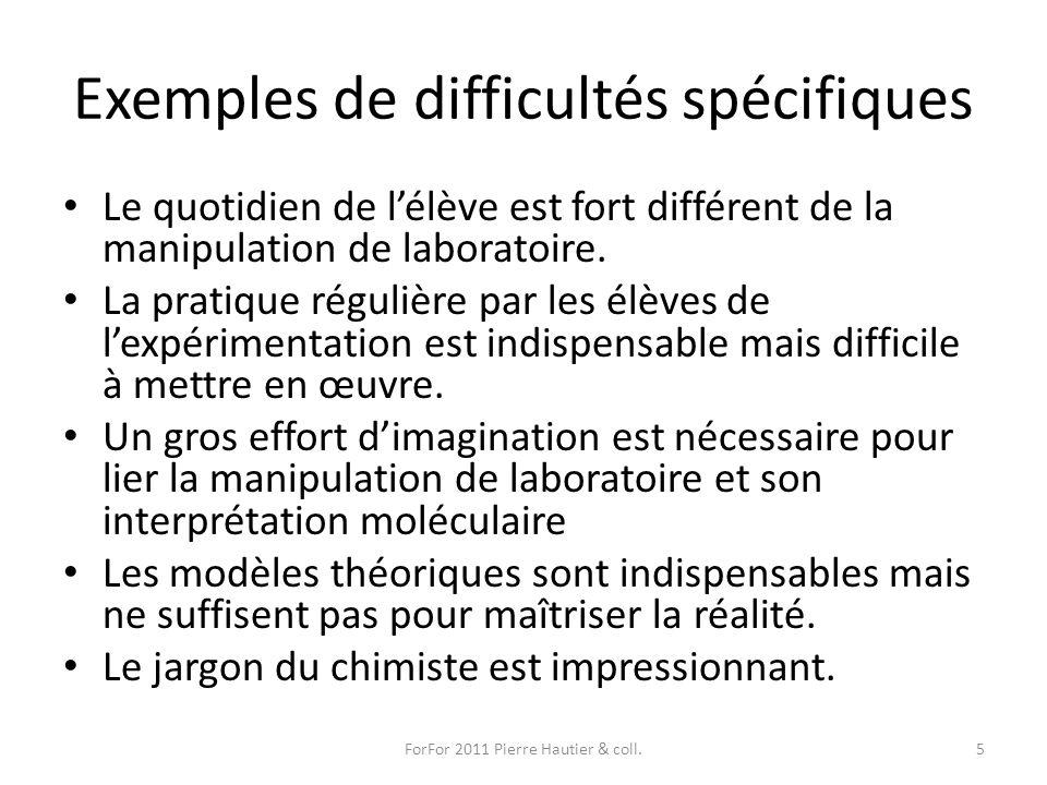 Exemples de difficultés spécifiques Le quotidien de lélève est fort différent de la manipulation de laboratoire. La pratique régulière par les élèves