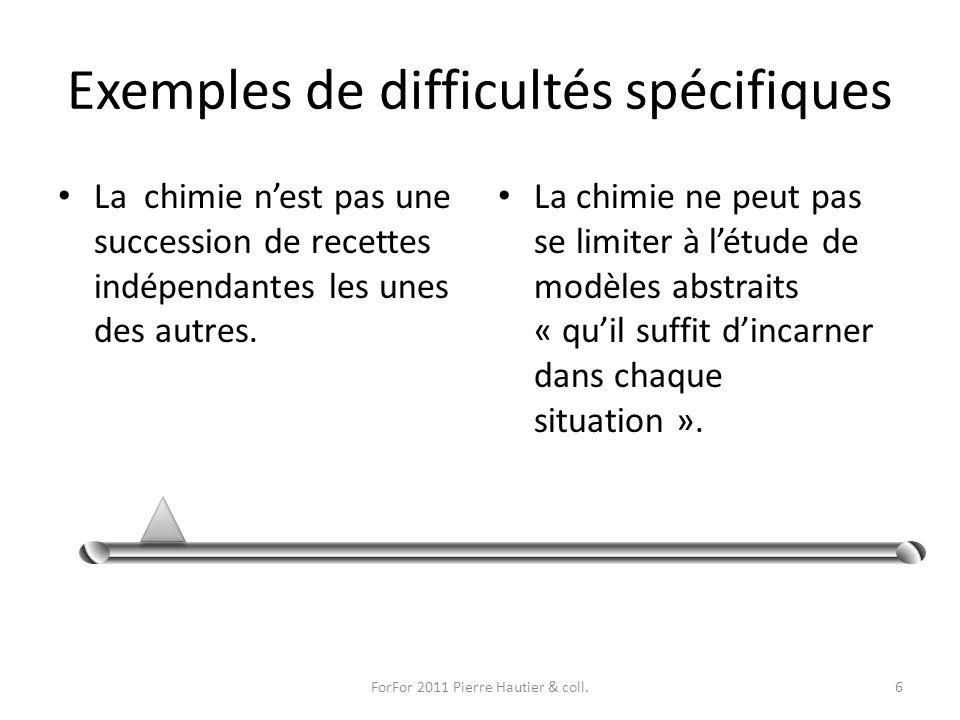 Exemples de difficultés spécifiques La chimie nest pas une succession de recettes indépendantes les unes des autres. La chimie ne peut pas se limiter
