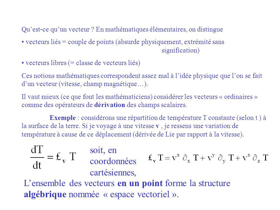 Quest-ce quun vecteur ? En mathématiques élémentaires, on distingue vecteurs liés = couple de points (absurde physiquement, extrémité sans significati