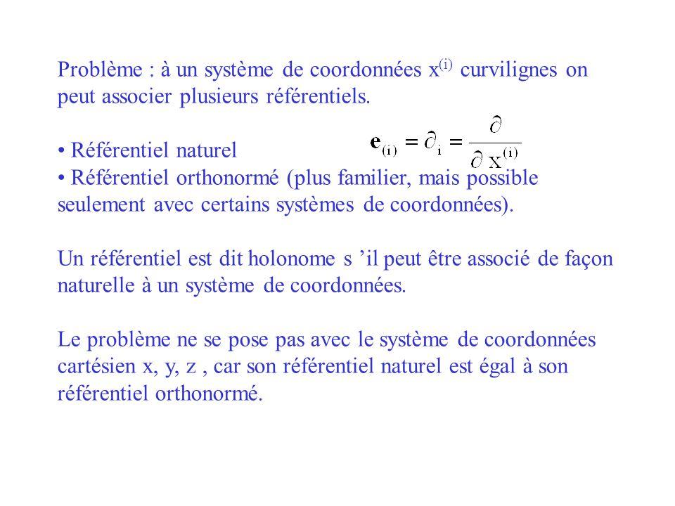 Problème : à un système de coordonnées x (i) curvilignes on peut associer plusieurs référentiels. Référentiel naturel Référentiel orthonormé (plus fam