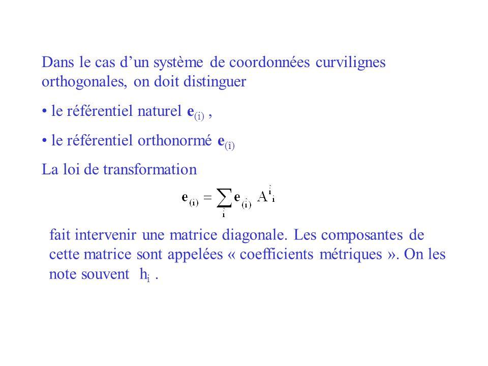 Dans le cas dun système de coordonnées curvilignes orthogonales, on doit distinguer le référentiel naturel e (i), le référentiel orthonormé e (î) La l