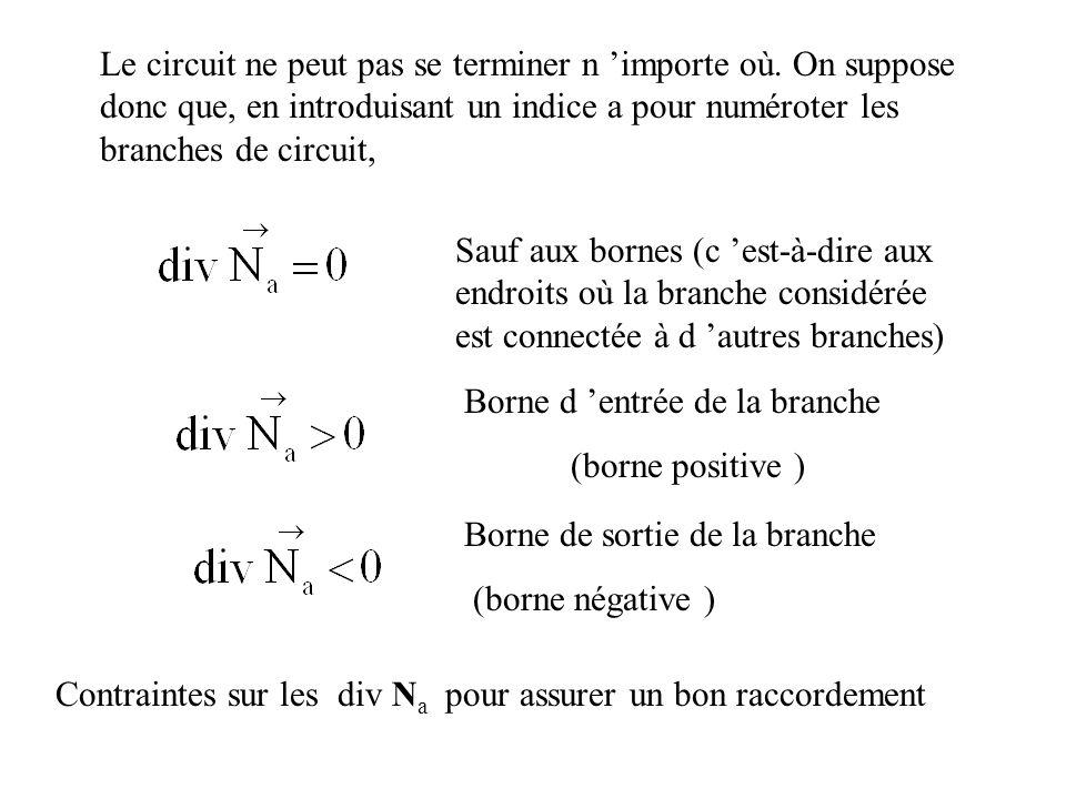 Sauf aux bornes (c est-à-dire aux endroits où la branche considérée est connectée à d autres branches) Le circuit ne peut pas se terminer n importe où