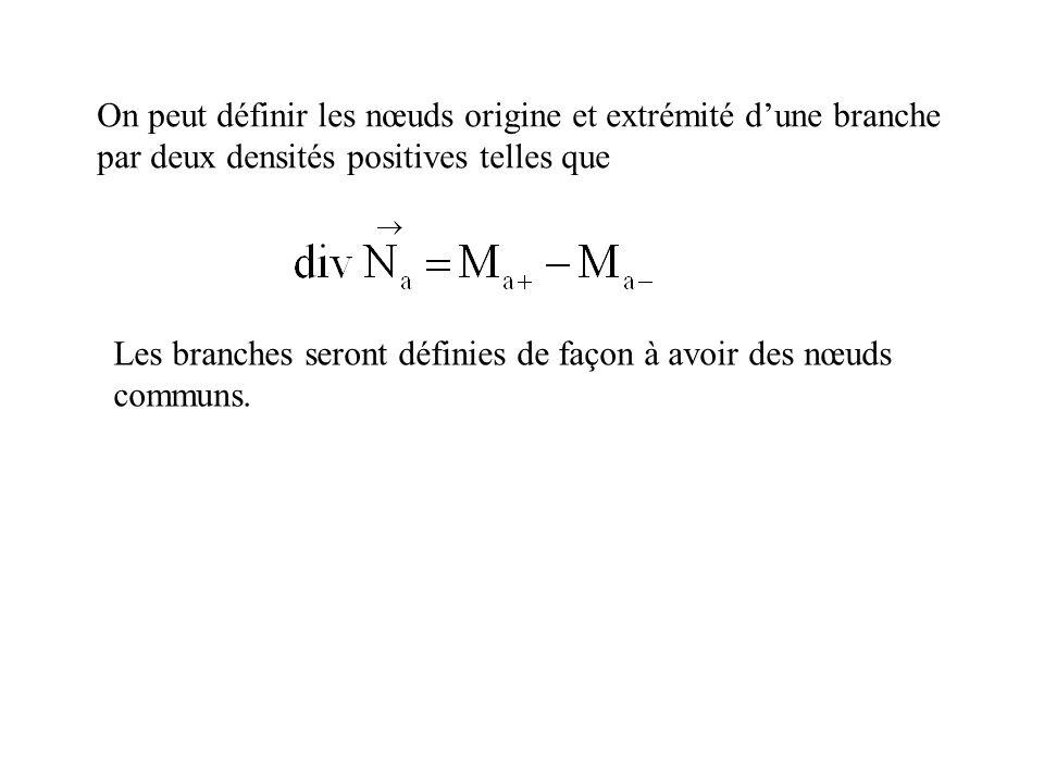 On peut définir les nœuds origine et extrémité dune branche par deux densités positives telles que Les branches seront définies de façon à avoir des n