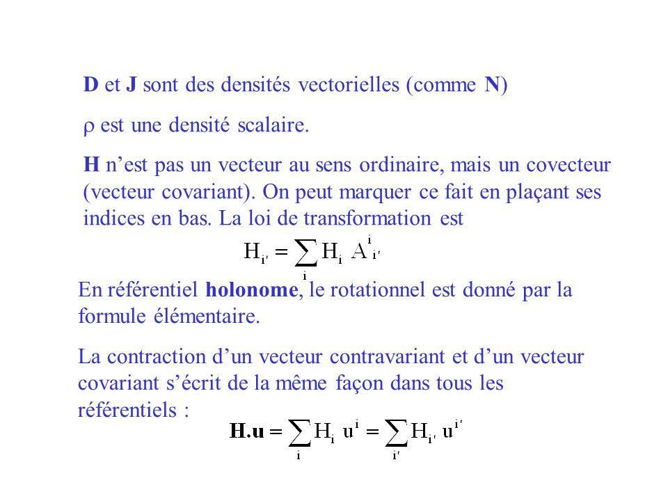 D et J sont des densités vectorielles (comme N) est une densité scalaire. H nest pas un vecteur au sens ordinaire, mais un covecteur (vecteur covarian
