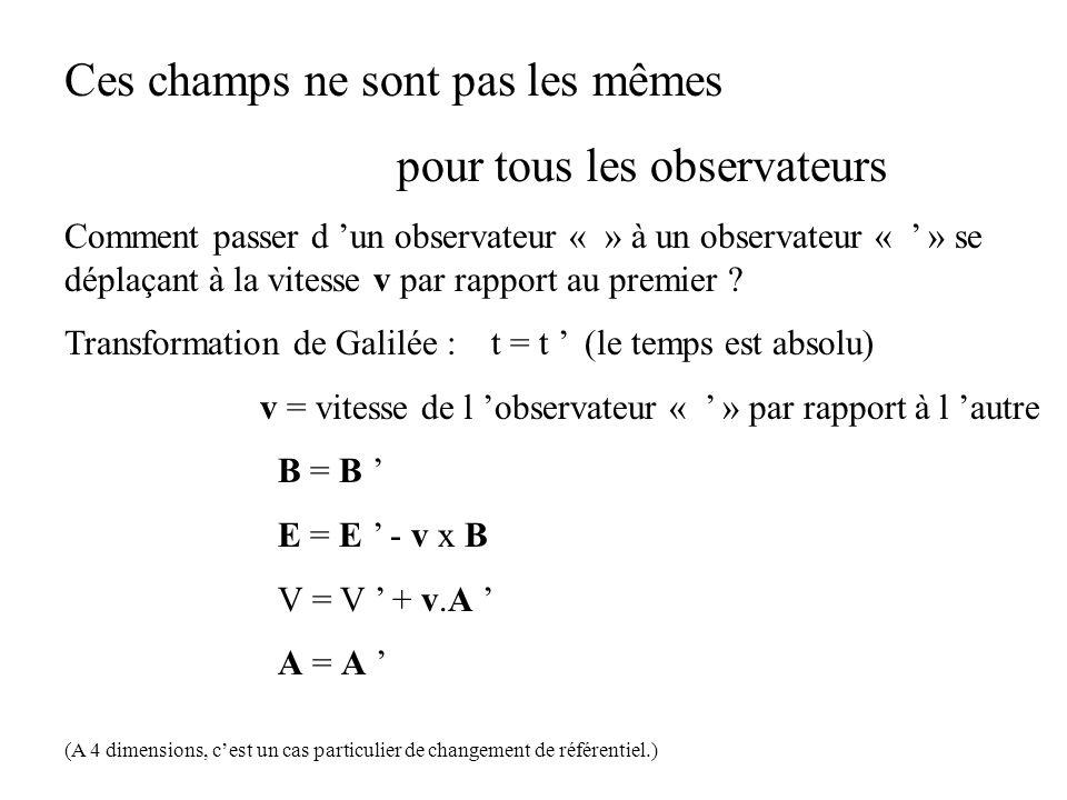 Ces champs ne sont pas les mêmes pour tous les observateurs Comment passer d un observateur « » à un observateur « » se déplaçant à la vitesse v par r