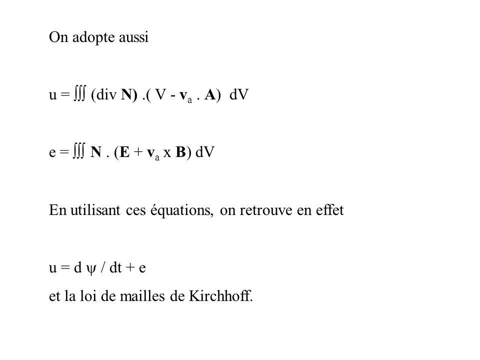 On adopte aussi u = (div N).( V - v a. A) dV e = N. (E + v a x B) dV En utilisant ces équations, on retrouve en effet u = d / dt + e et la loi de mail