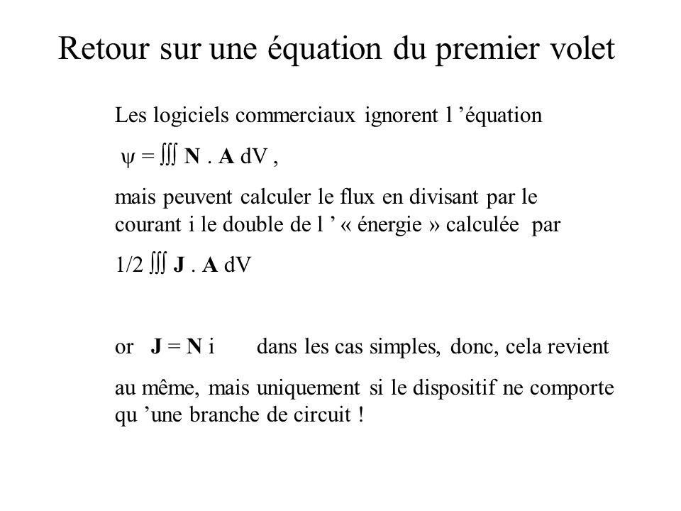 Les logiciels commerciaux ignorent l équation = N. A dV, mais peuvent calculer le flux en divisant par le courant i le double de l « énergie » calculé