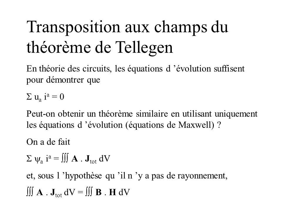 Transposition aux champs du théorème de Tellegen En théorie des circuits, les équations d évolution suffisent pour démontrer que u a i a = 0 Peut-on o