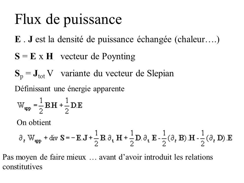 Flux de puissance E. J est la densité de puissance échangée (chaleur….) S = E x H vecteur de Poynting S p = J tot V variante du vecteur de Slepian Déf