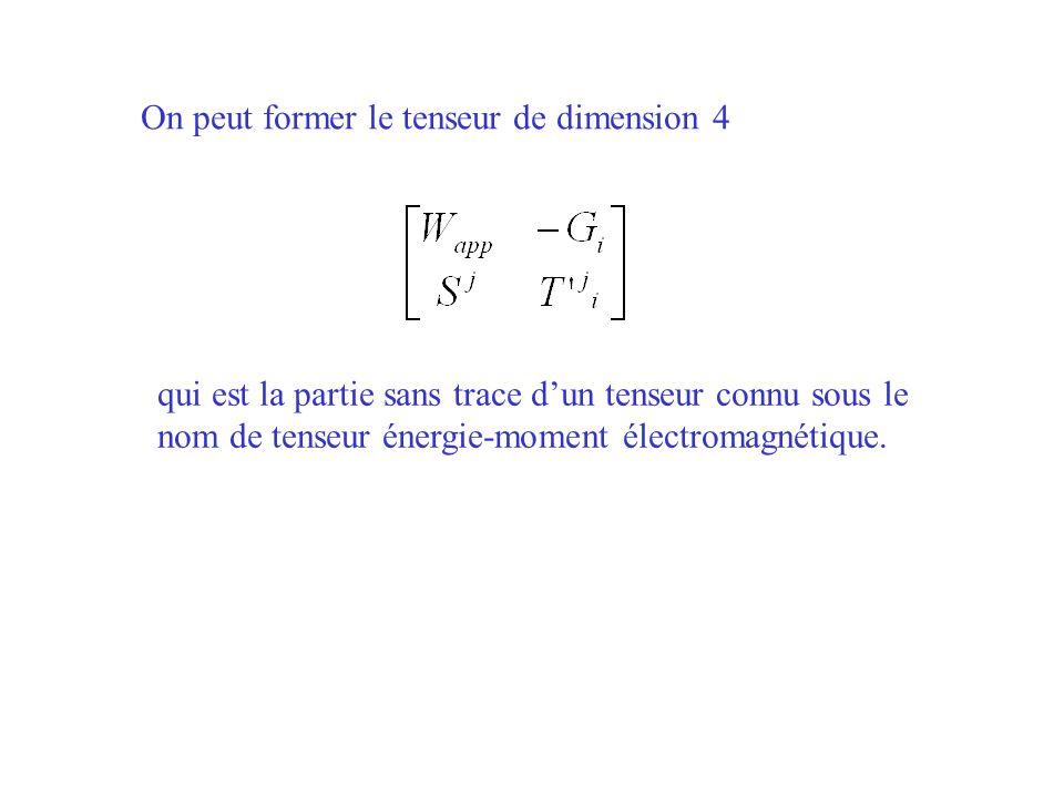 On peut former le tenseur de dimension 4 qui est la partie sans trace dun tenseur connu sous le nom de tenseur énergie-moment électromagnétique.
