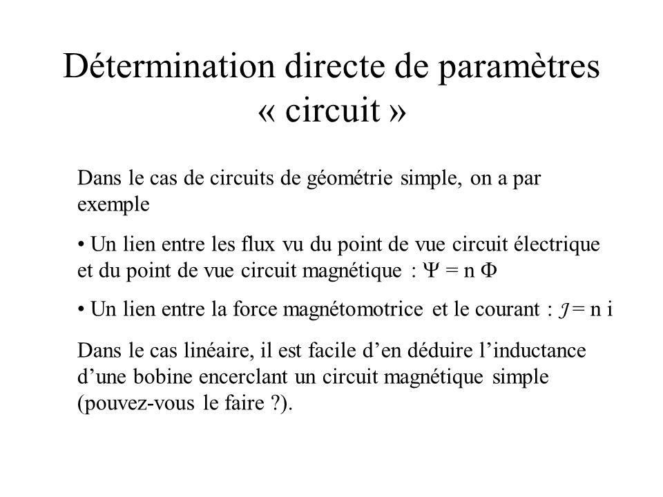 Détermination directe de paramètres « circuit » Dans le cas de circuits de géométrie simple, on a par exemple Un lien entre les flux vu du point de vu