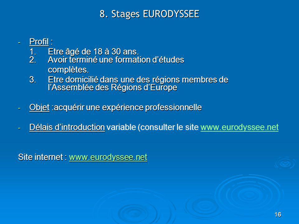 16 8. Stages EURODYSSEE - Profil : 1. Etre âgé de 18 à 30 ans.