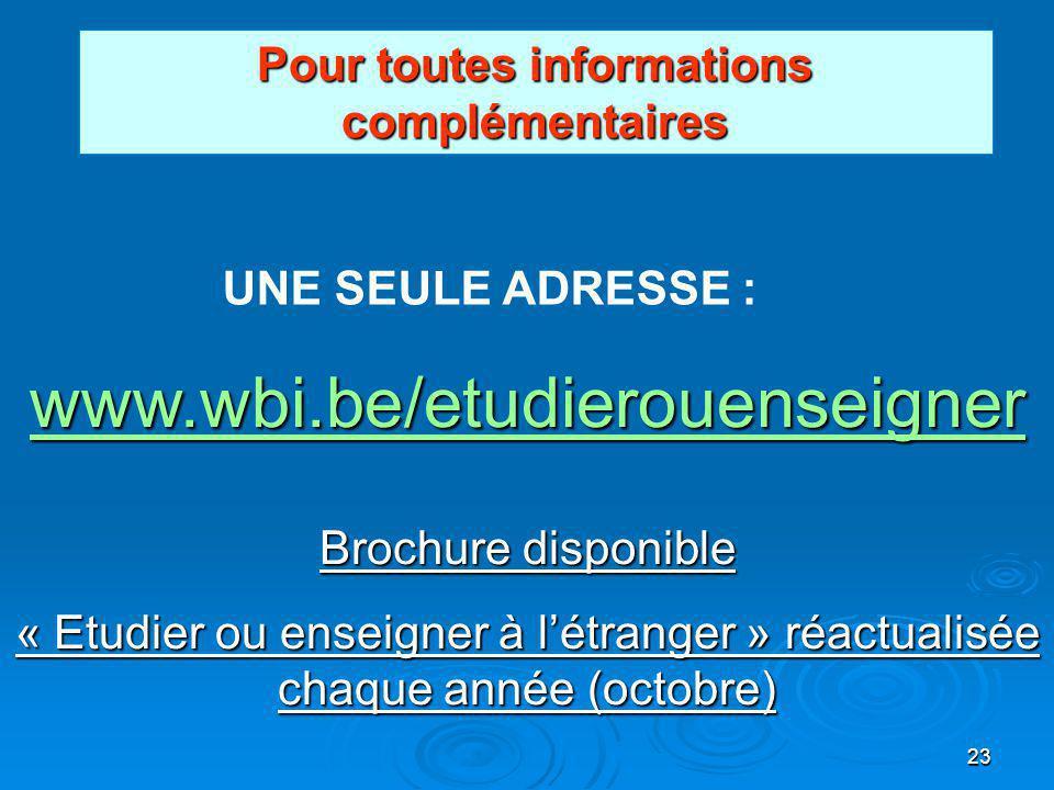 23 Pour toutes informations complémentaires UNE SEULE ADRESSE : www.wbi.be/etudierouenseigner Brochure disponible « Etudier ou enseigner à létranger » réactualisée chaque année (octobre)