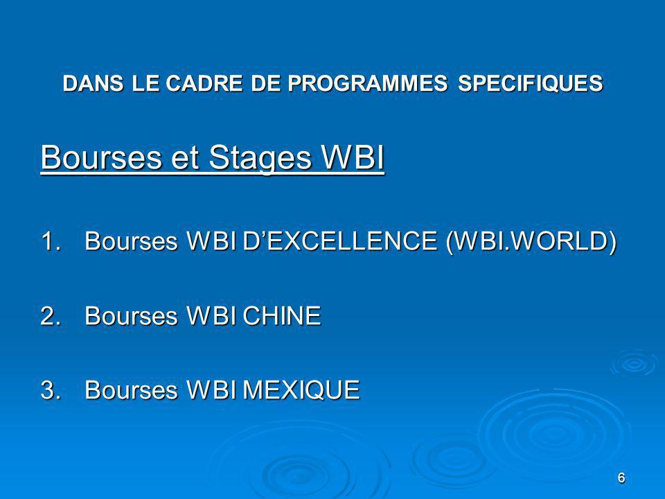 6 DANS LE CADRE DE PROGRAMMES SPECIFIQUES Bourses et Stages WBI 1.Bourses WBI DEXCELLENCE (WBI.WORLD) 2.