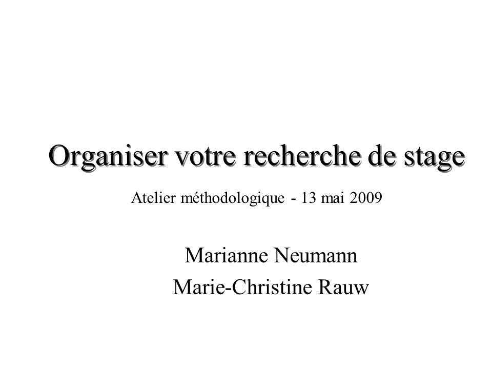 Organiser votre recherche de stage Marianne Neumann Marie-Christine Rauw Atelier méthodologique - 13 mai 2009