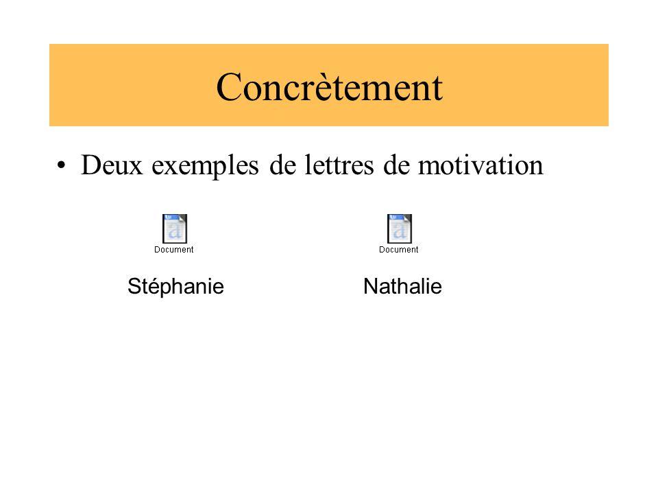 Concrètement Deux exemples de lettres de motivation StéphanieNathalie