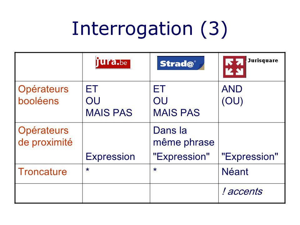 Interrogation (3) Opérateurs booléens ET OU MAIS PAS AND (OU) Opérateurs de proximité Expression Dans la même phrase