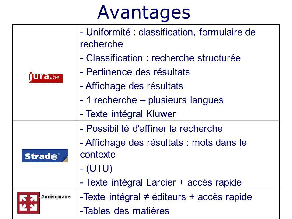 Avantages - Uniformité : classification, formulaire de recherche - Classification : recherche structurée - Pertinence des résultats - Affichage des ré