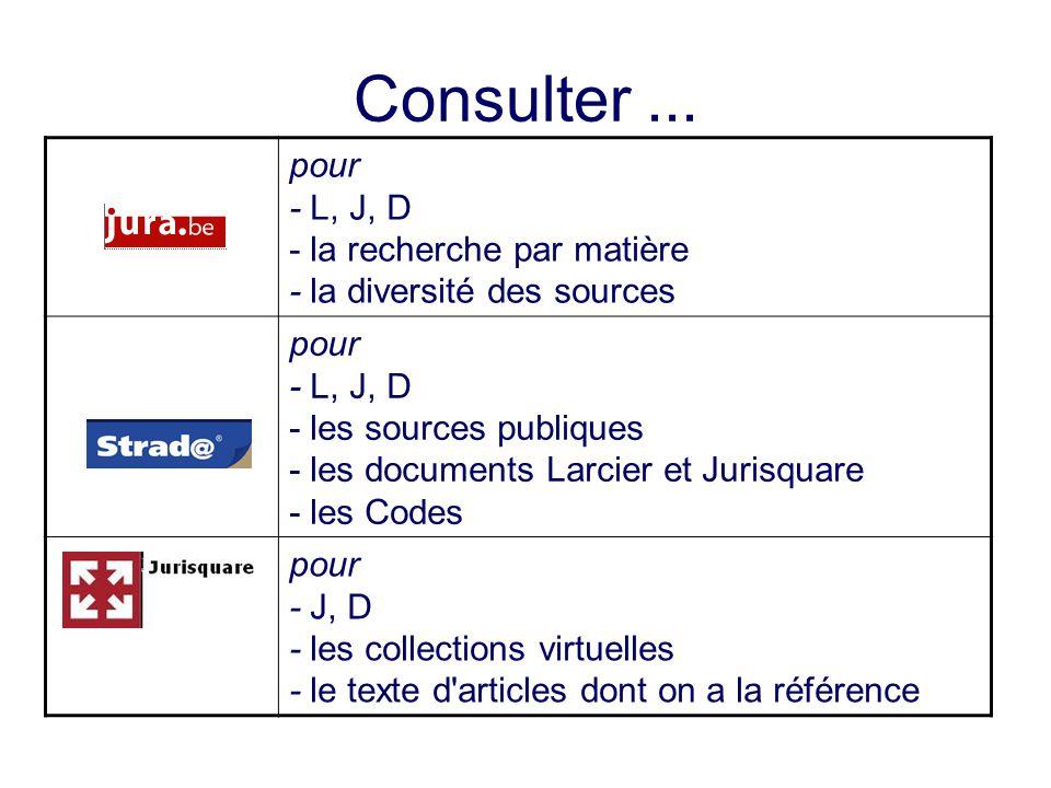 Consulter... pour - L, J, D - la recherche par matière - la diversité des sources pour - L, J, D - les sources publiques - les documents Larcier et Ju