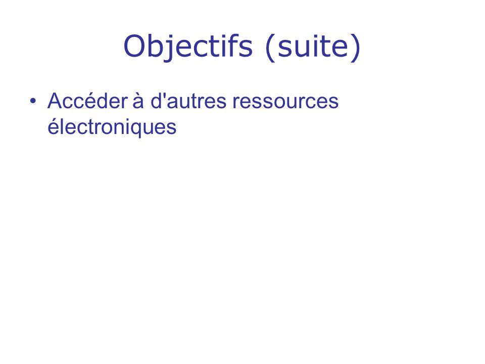Objectifs (suite) Accéder à d autres ressources électroniques