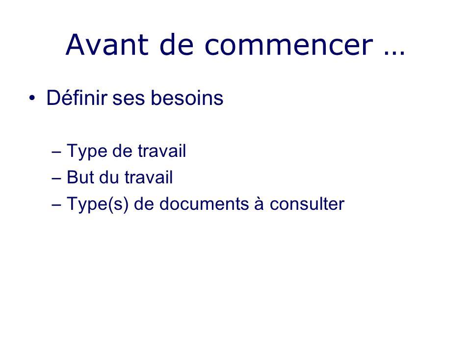 Avant de commencer … Définir ses besoins –Type de travail –But du travail –Type(s) de documents à consulter