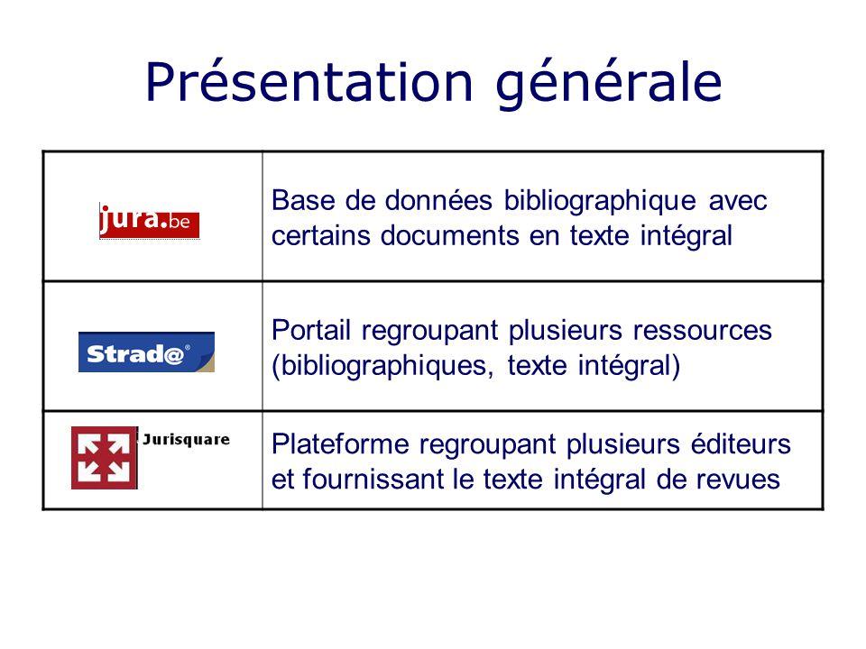 Présentation générale Base de données bibliographique avec certains documents en texte intégral Portail regroupant plusieurs ressources (bibliographiq