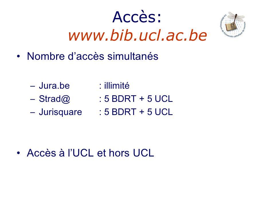 Accès: www.bib.ucl.ac.be Nombre daccès simultanés –Jura.be : illimité –Strad@ : 5 BDRT + 5 UCL –Jurisquare: 5 BDRT + 5 UCL Accès à lUCL et hors UCL