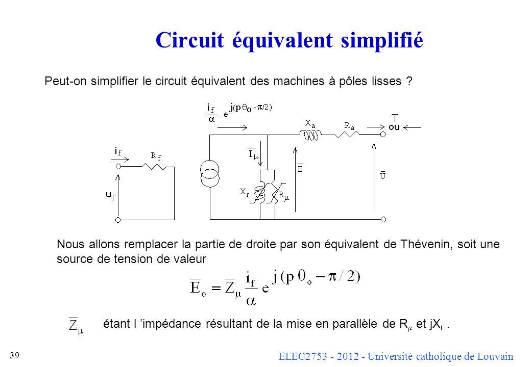 ELEC2753 - 2012 - Université catholique de Louvain 38 Remarque sur les modèles Le circuit équivalent n est pas LA réalité, mais un modèle (représentat