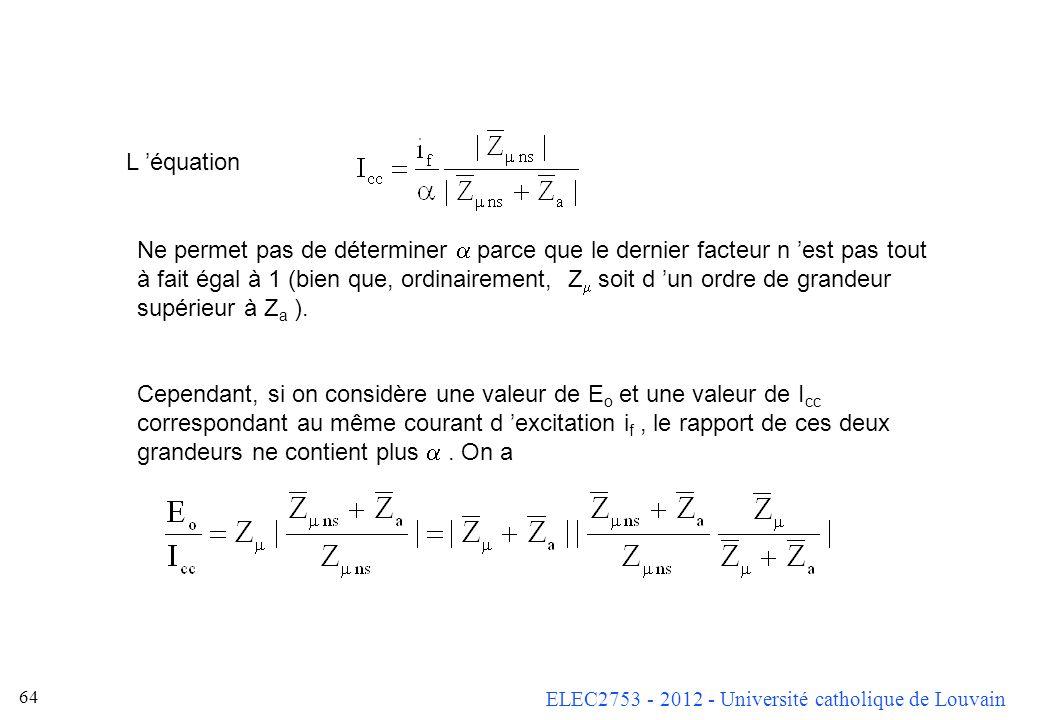 ELEC2753 - 2012 - Université catholique de Louvain 63 Remarque : Le courant de court-circuit dépend peu de la vitesse de rotation. En effet, le divise