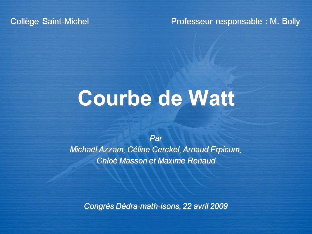 Courbe de Watt Collège Saint-Michel Professeur responsable : M. Bolly Par Michaël Azzam, Céline Cerckel, Arnaud Erpicum, Chloé Masson et Maxime Renaud