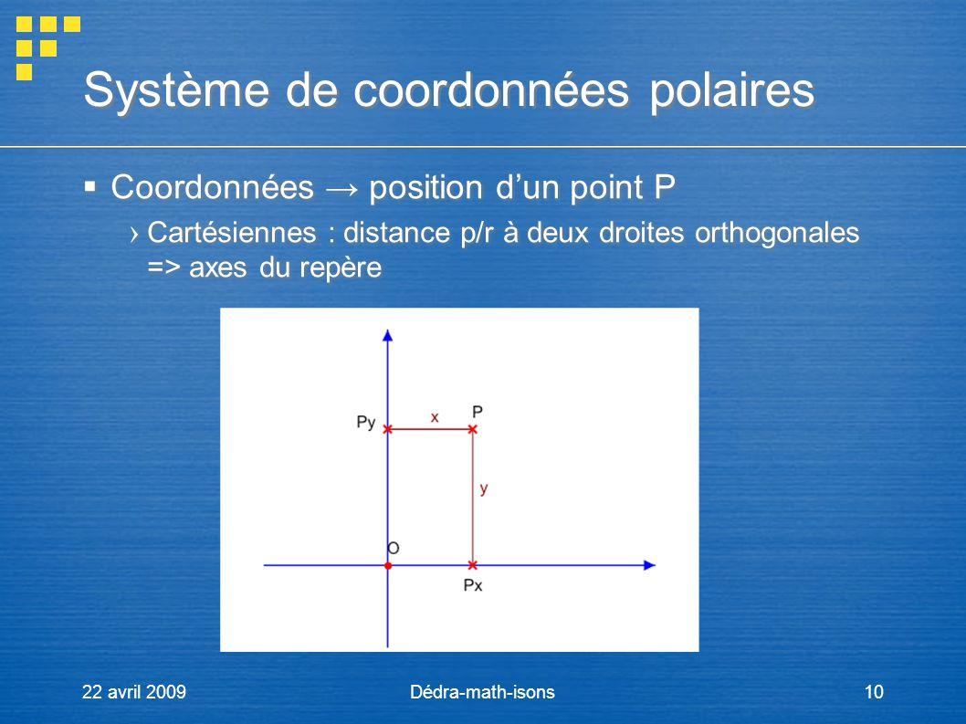 22 avril 2009Dédra-math-isons10 Système de coordonnées polaires Coordonnées position dun point P Cartésiennes : distance p/r à deux droites orthogonal