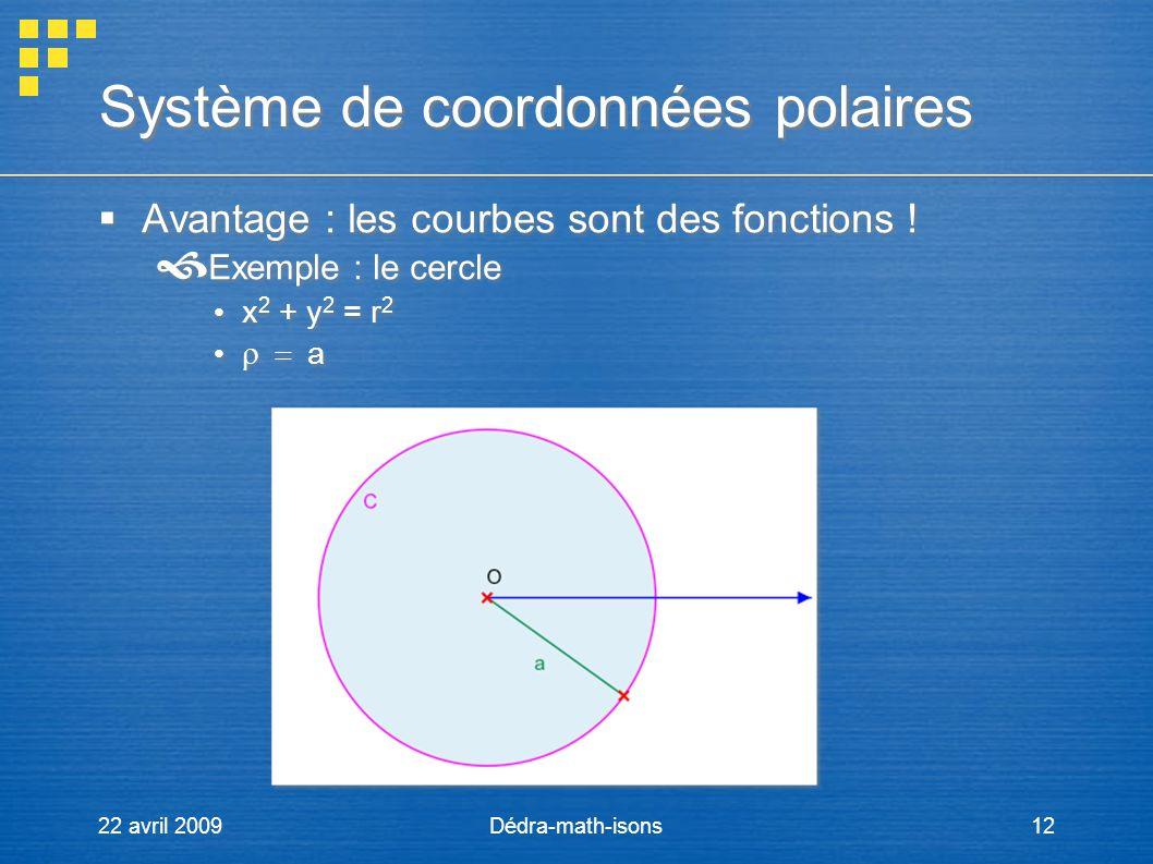 22 avril 2009Dédra-math-isons12 Système de coordonnées polaires Avantage : les courbes sont des fonctions ! Exemple : le cercle x 2 + y 2 = r 2 a Avan