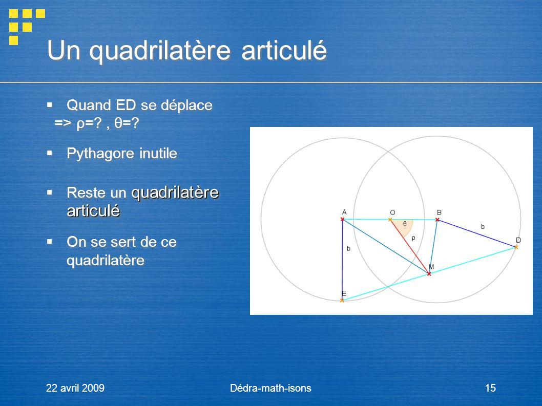 22 avril 2009Dédra-math-isons15 Un quadrilatère articulé Quand ED se déplace => ρ=?, θ=? Pythagore inutile quadrilatère articulé Reste un quadrilatère