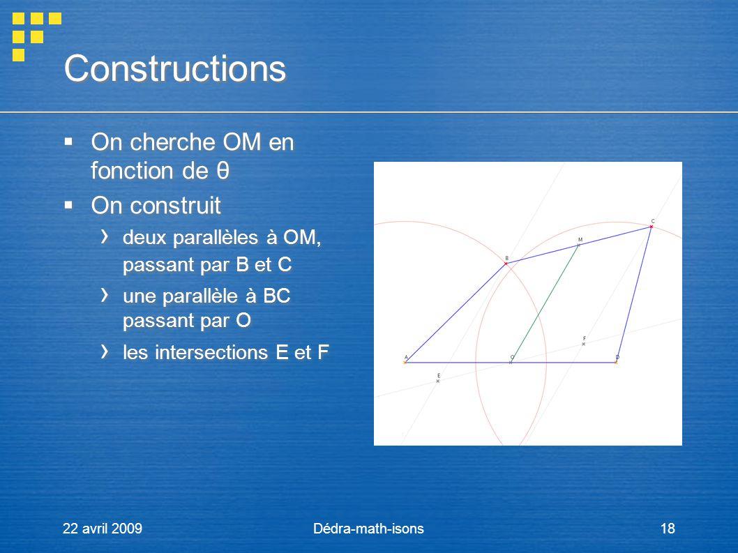 22 avril 2009Dédra-math-isons18 Constructions On cherche OM en fonction de θ On construit deux parallèles à OM, passant par B et C une parallèle à BC
