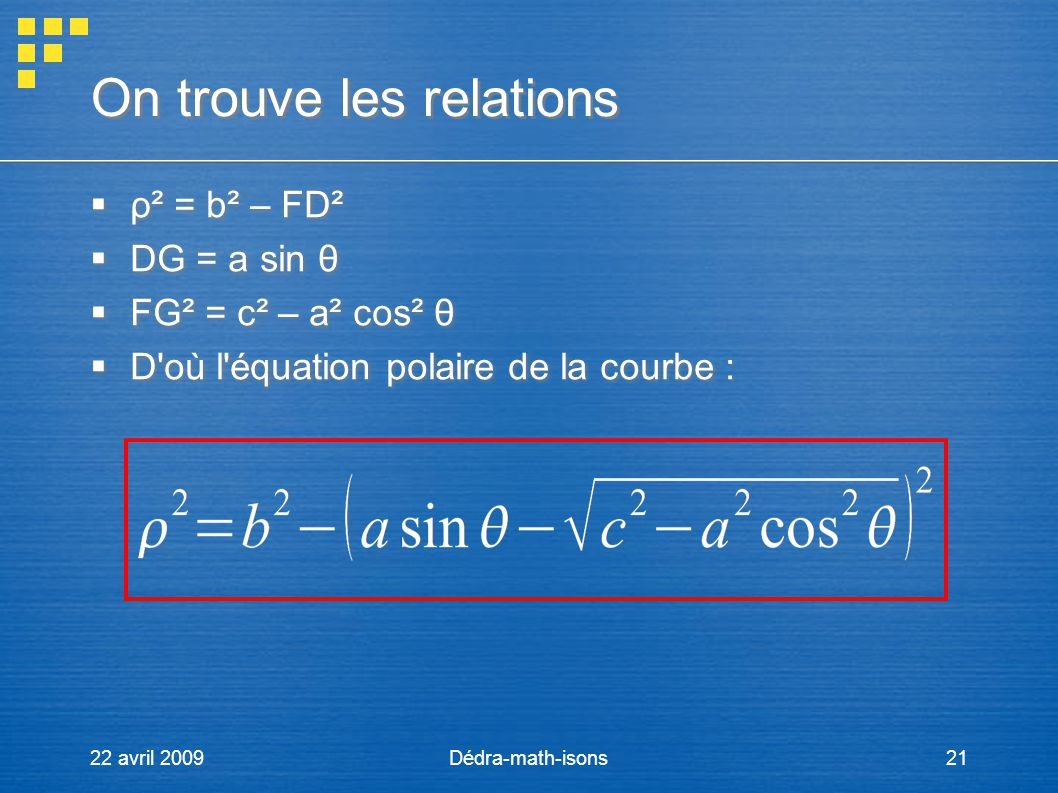 22 avril 2009Dédra-math-isons21 On trouve les relations ρ² = b² – FD² DG = a sin θ FG² = c² – a² cos² θ D'où l'équation polaire de la courbe : ρ² = b²