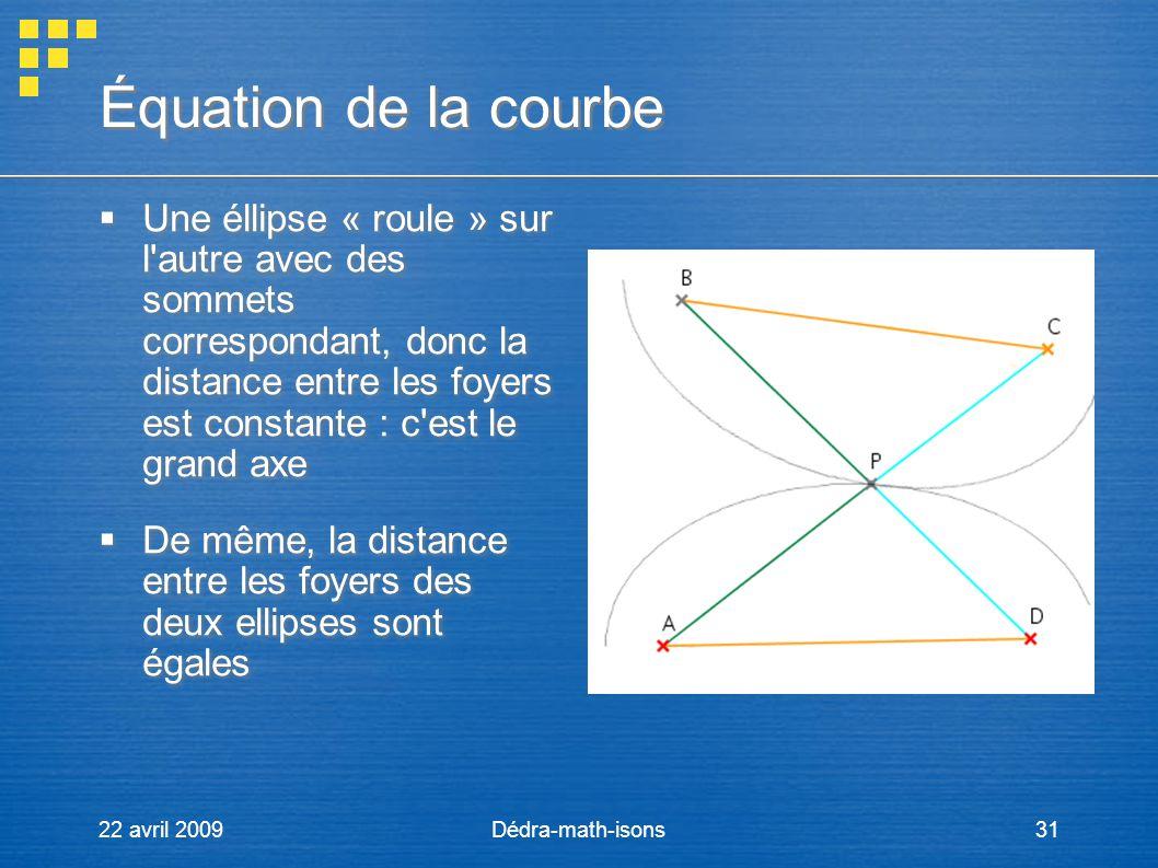 22 avril 2009Dédra-math-isons31 Équation de la courbe Une éllipse « roule » sur l'autre avec des sommets correspondant, donc la distance entre les foy