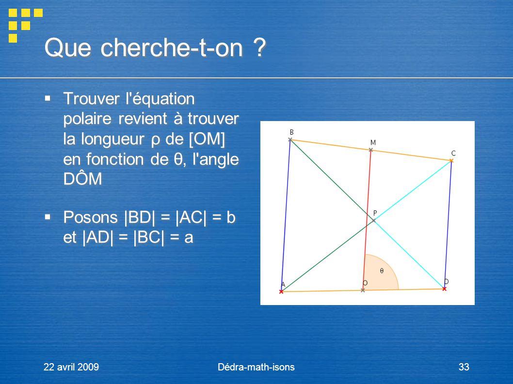 22 avril 2009Dédra-math-isons33 Que cherche-t-on ? Trouver l'équation polaire revient à trouver la longueur ρ de [OM] en fonction de θ, l'angle DÔM Po