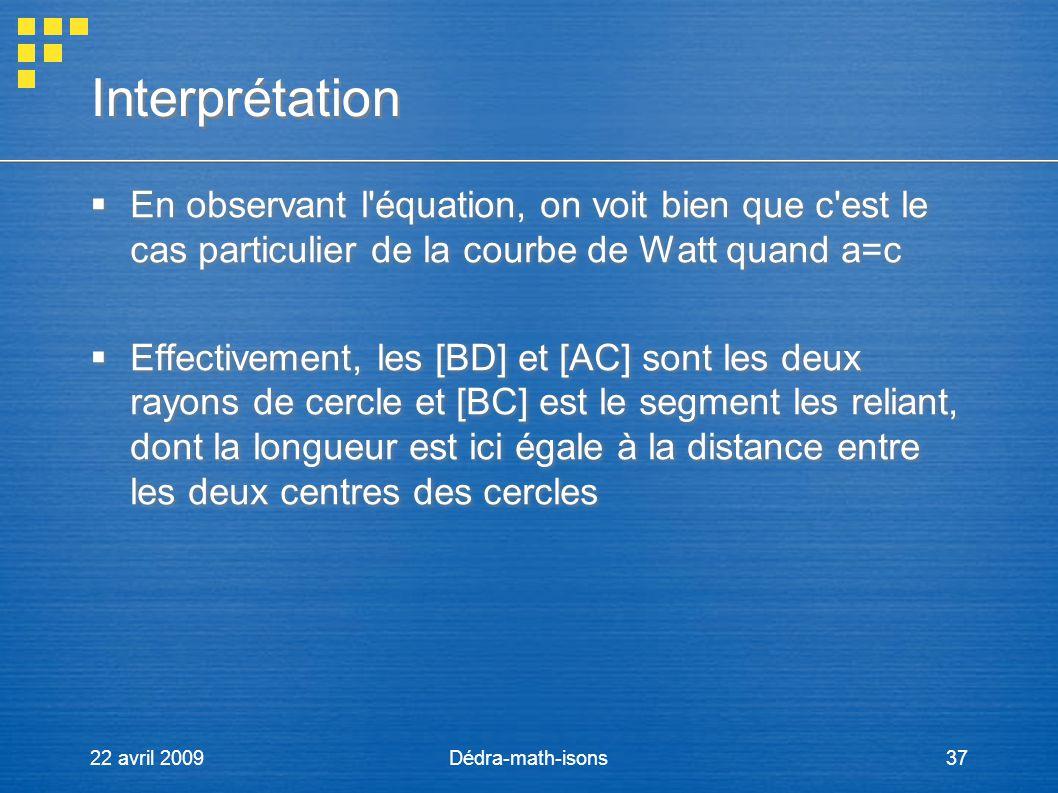 22 avril 2009Dédra-math-isons37 Interprétation En observant l'équation, on voit bien que c'est le cas particulier de la courbe de Watt quand a=c Effec