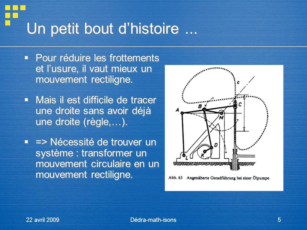 22 avril 2009Dédra-math-isons5 Un petit bout dhistoire... Pour réduire les frottements et lusure, il vaut mieux un mouvement rectiligne. Mais il est d