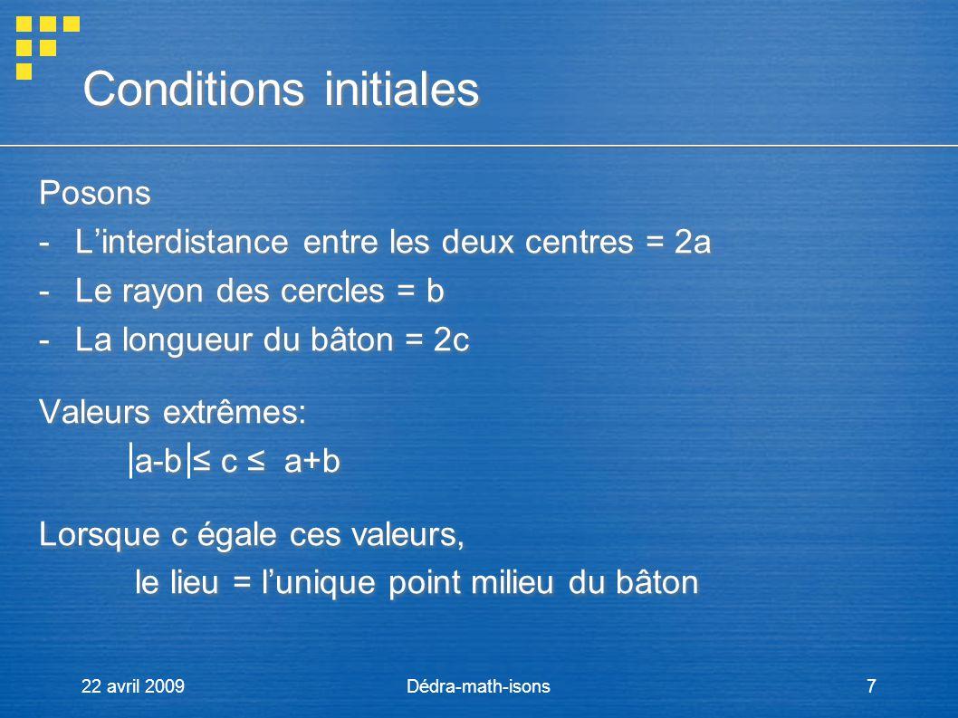 22 avril 2009Dédra-math-isons7 Conditions initiales Posons -Linterdistance entre les deux centres = 2a -Le rayon des cercles = b -La longueur du bâton