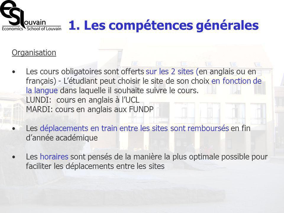 1. Les compétences générales Organisation Les cours obligatoires sont offerts sur les 2 sites (en anglais ou en français) - Létudiant peut choisir le