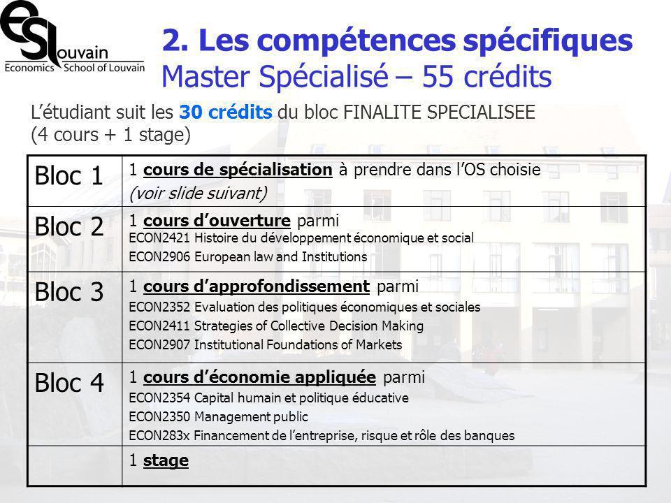 2. Les compétences spécifiques Master Spécialisé – 55 crédits Létudiant suit les 30 crédits du bloc FINALITE SPECIALISEE (4 cours + 1 stage) Bloc 1 1