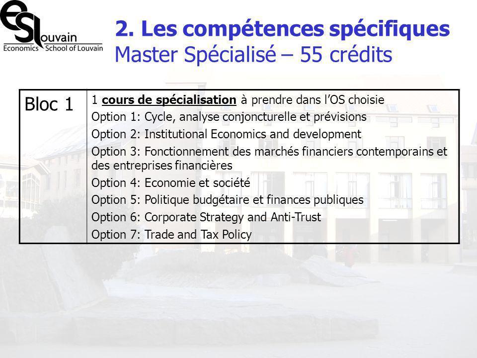 2. Les compétences spécifiques Master Spécialisé – 55 crédits Bloc 1 1 cours de spécialisation à prendre dans lOS choisie Option 1: Cycle, analyse con