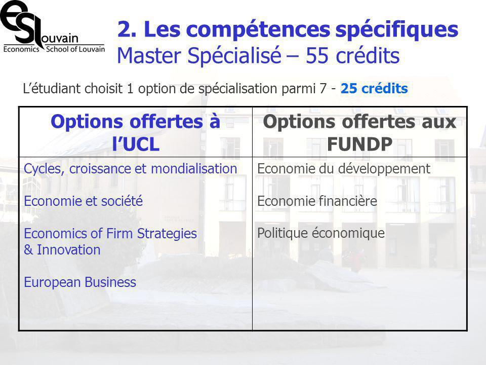 2. Les compétences spécifiques Master Spécialisé – 55 crédits Létudiant choisit 1 option de spécialisation parmi 7 - 25 crédits Options offertes à lUC