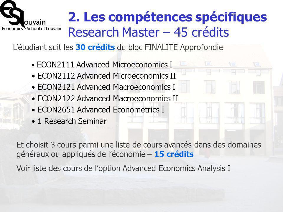 2. Les compétences spécifiques Research Master – 45 crédits Létudiant suit les 30 crédits du bloc FINALITE Approfondie ECON2111 Advanced Microeconomic